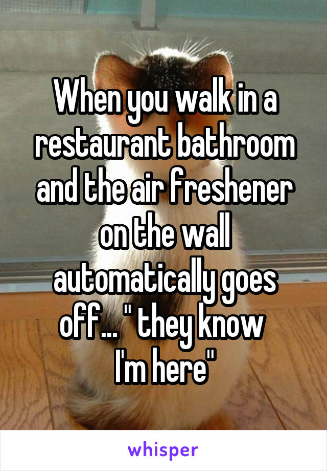 "When you walk in a restaurant bathroom and the air freshener on the wall automatically goes off... "" they know  I'm here"""