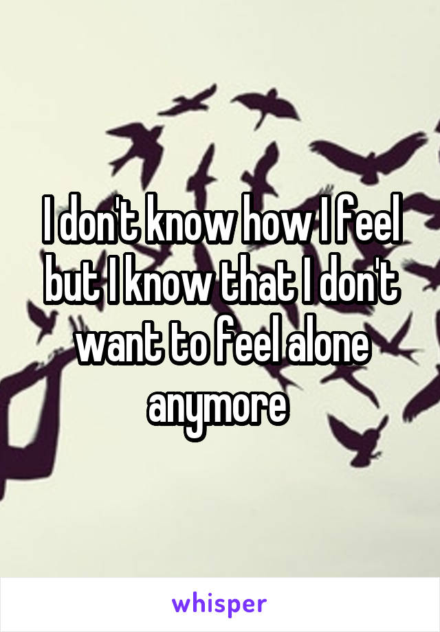 I don't know how I feel but I know that I don't want to feel alone anymore