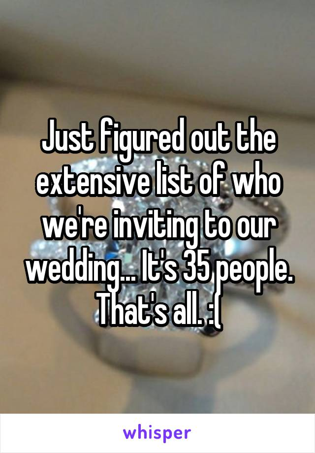 Just figured out the extensive list of who we're inviting to our wedding... It's 35 people. That's all. :(