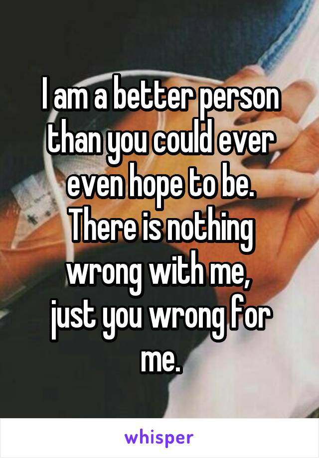 I am a better person than you could ever even hope to be. There is nothing wrong with me,  just you wrong for me.