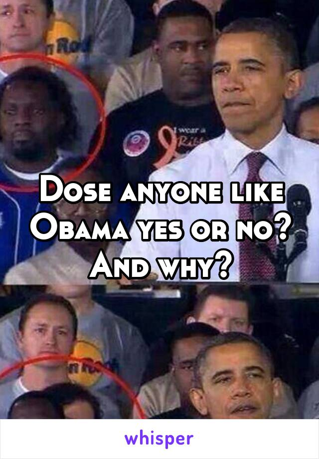 Dose anyone like Obama yes or no? And why?