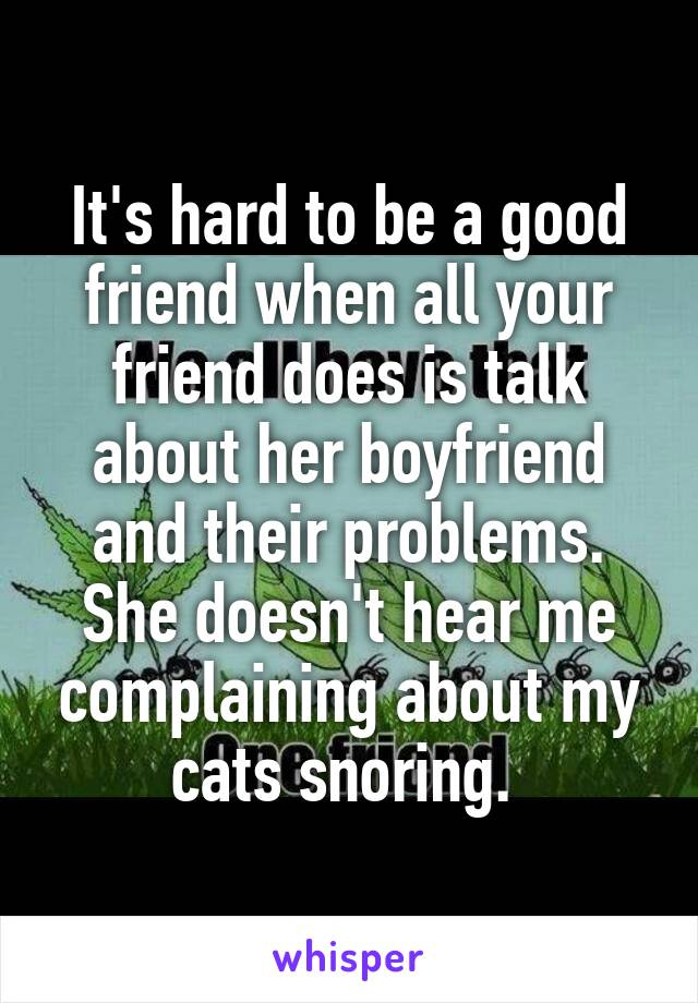 It's hard to be a good friend when all your friend does is talk about her boyfriend and their problems. She doesn't hear me complaining about my cats snoring.