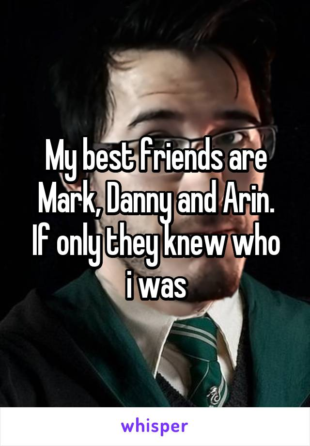 My best friends are Mark, Danny and Arin. If only they knew who i was