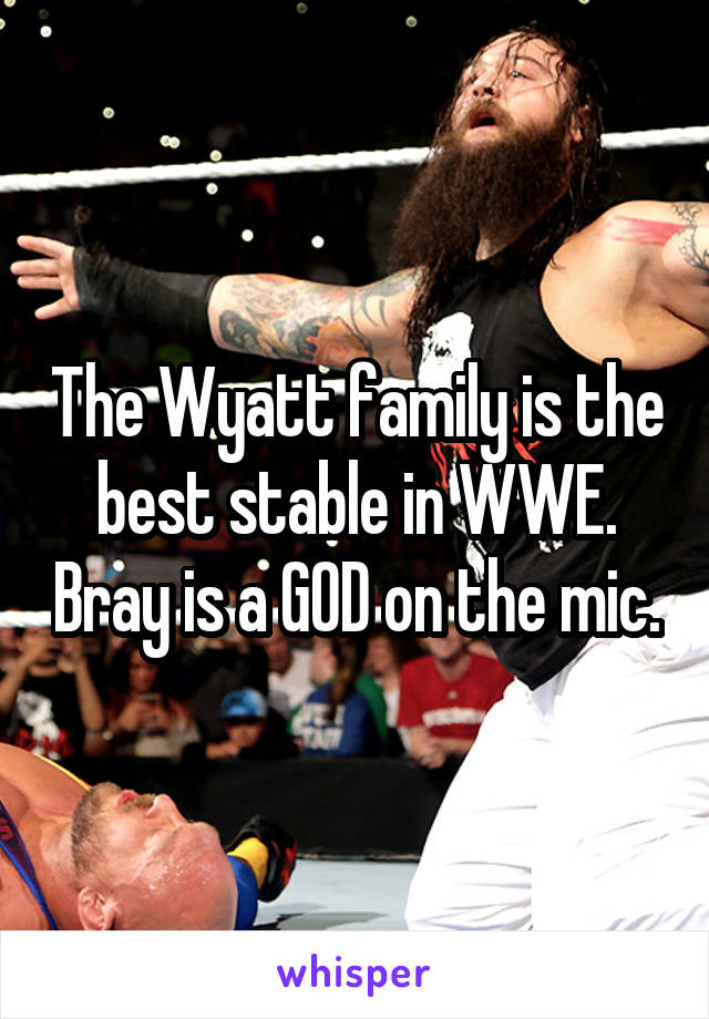The Wyatt family is the best stable in WWE. Bray is a GOD on the mic.