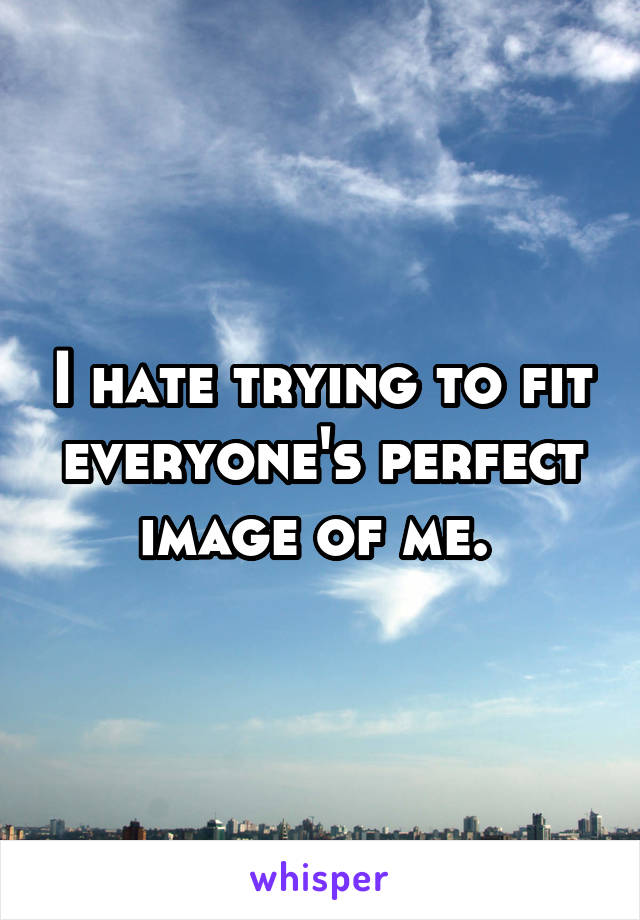 I hate trying to fit everyone's perfect image of me.