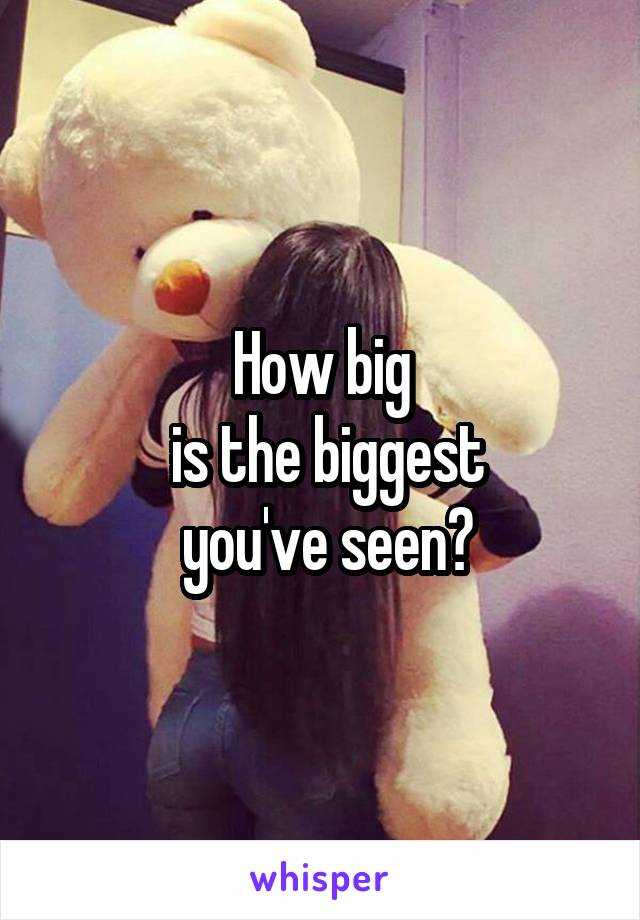 How big  is the biggest  you've seen?