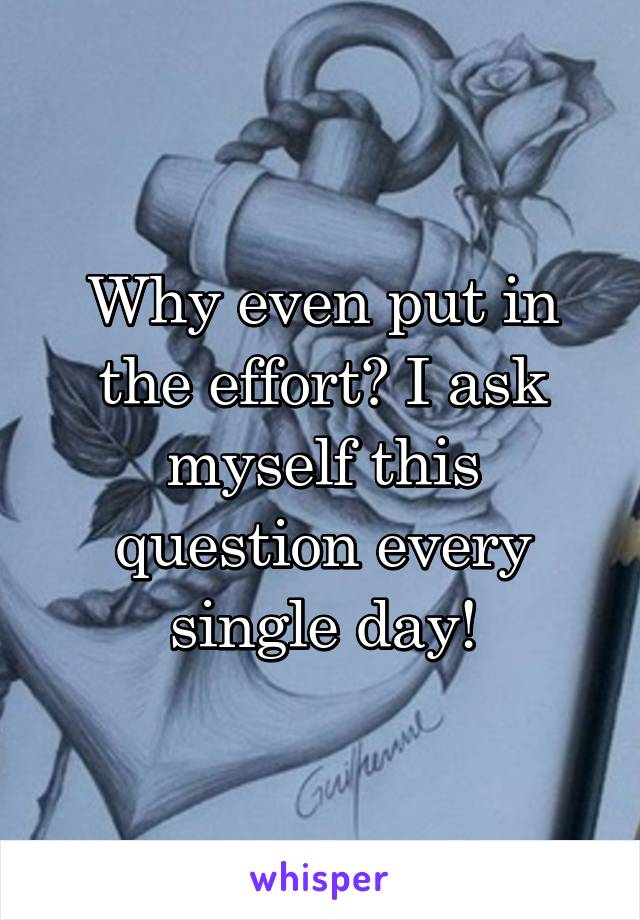 Why even put in the effort? I ask myself this question every single day!