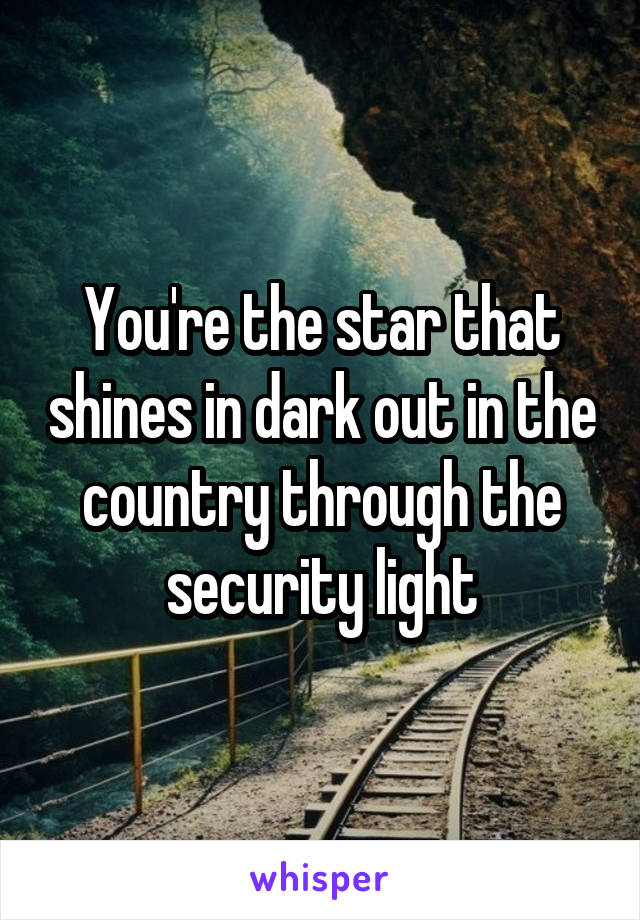 You're the star that shines in dark out in the country through the security light