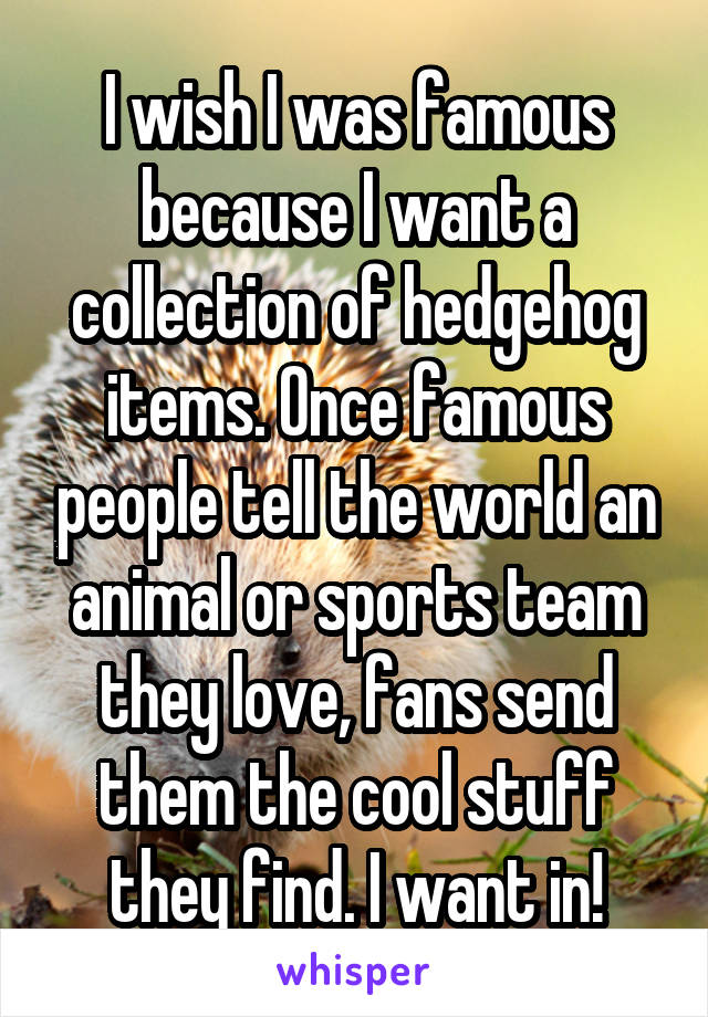 I wish I was famous because I want a collection of hedgehog items. Once famous people tell the world an animal or sports team they love, fans send them the cool stuff they find. I want in!