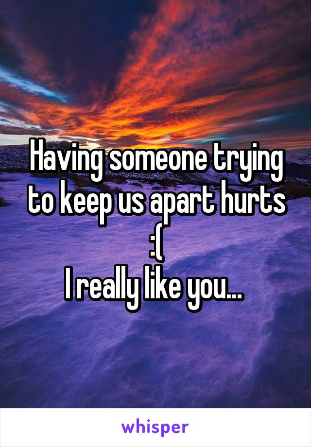 Having someone trying to keep us apart hurts :( I really like you...