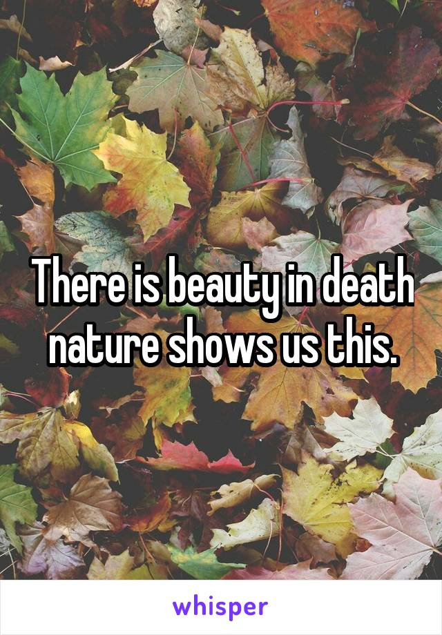 There is beauty in death nature shows us this.