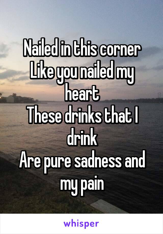 Nailed in this corner Like you nailed my heart These drinks that I drink Are pure sadness and my pain