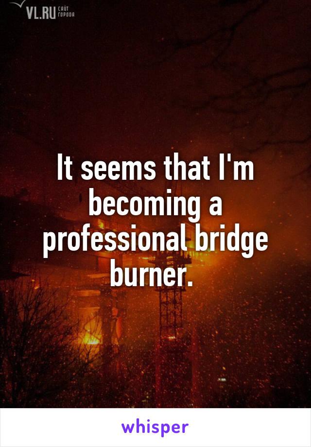 It seems that I'm becoming a professional bridge burner.