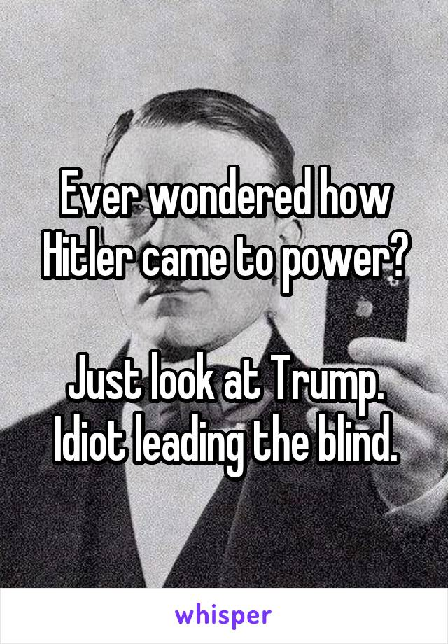 Ever wondered how Hitler came to power?  Just look at Trump. Idiot leading the blind.