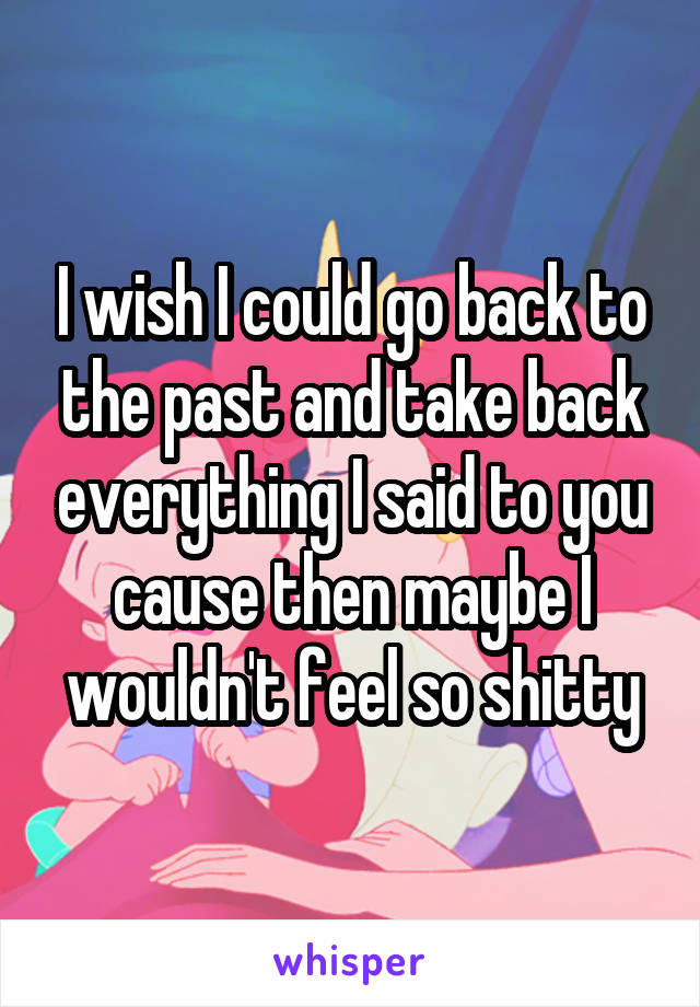I wish I could go back to the past and take back everything I said to you cause then maybe I wouldn't feel so shitty