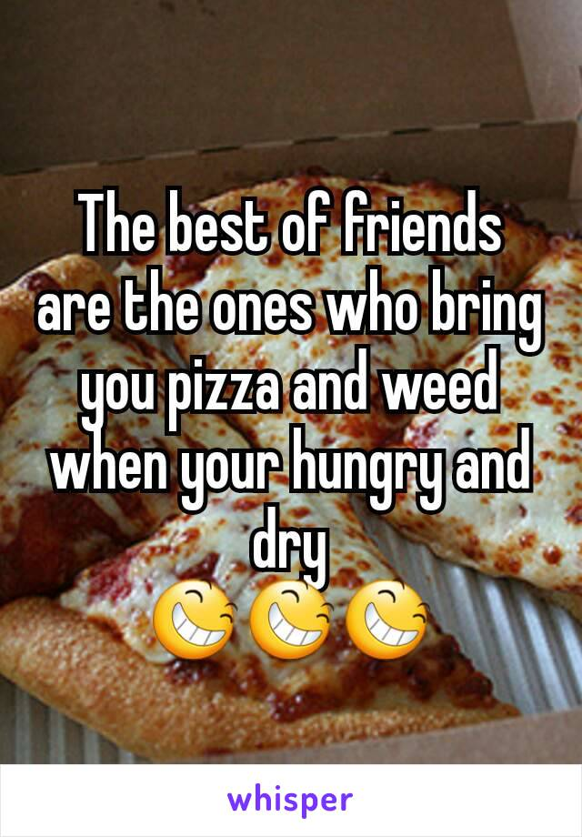 The best of friends are the ones who bring you pizza and weed when your hungry and dry 😆😆😆