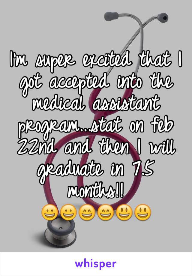 I'm super excited that I got accepted into the medical assistant program...stat on feb 22nd and then I will graduate in 7.5 months!!  😀😀😄😄😃😃