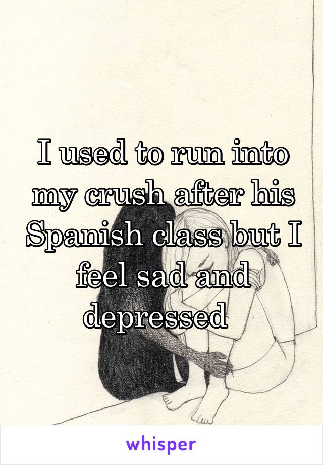 I used to run into my crush after his Spanish class but I feel sad and depressed