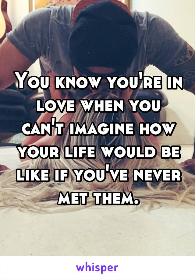 You know you're in love when you can't imagine how your life would be like if you've never met them.