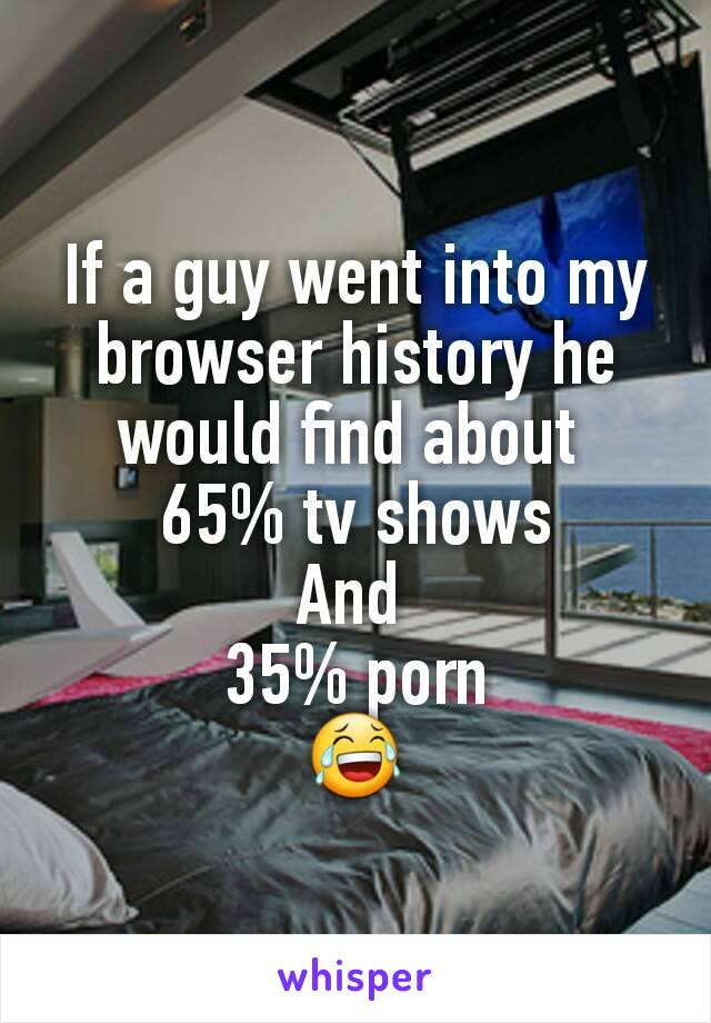 If a guy went into my browser history he would find about  65% tv shows And  35% porn 😂