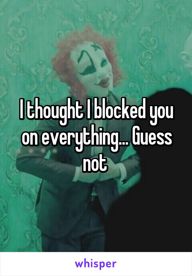 I thought I blocked you on everything... Guess not