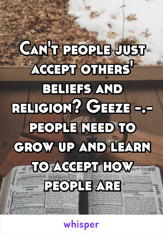 Can't people just accept others' beliefs and religion? Geeze -.- people need to grow up and learn to accept how people are