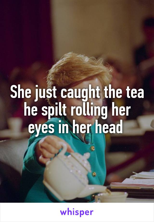 She just caught the tea he spilt rolling her eyes in her head