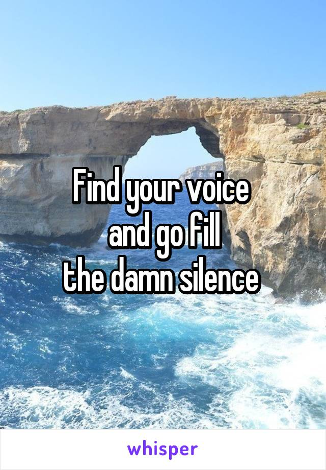 Find your voice  and go fill the damn silence