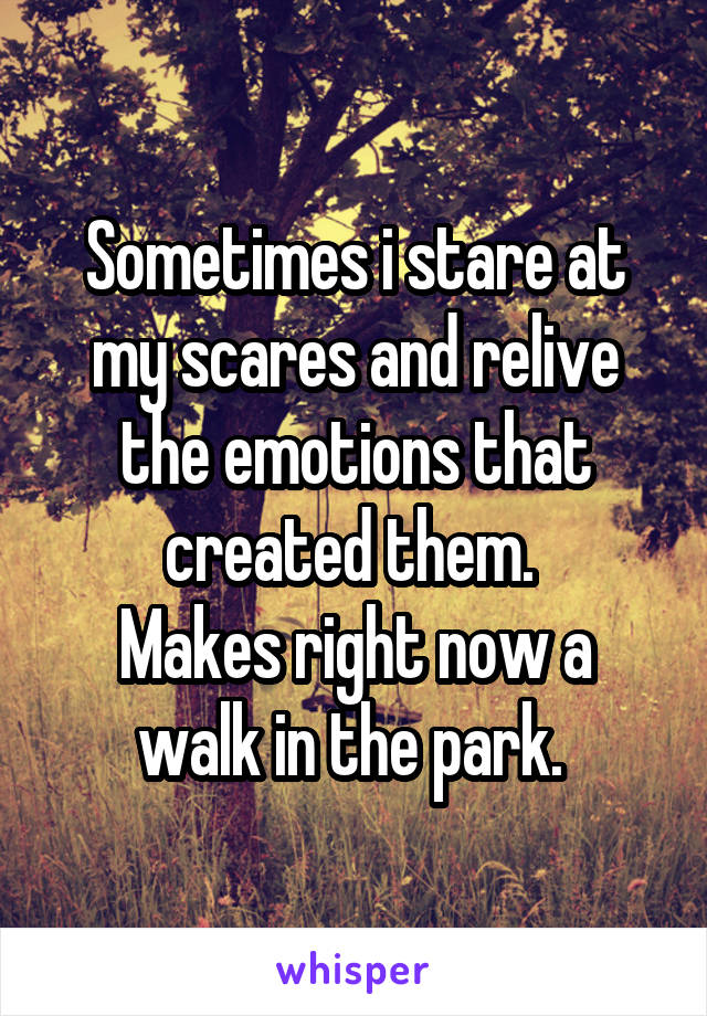 Sometimes i stare at my scares and relive the emotions that created them.  Makes right now a walk in the park.