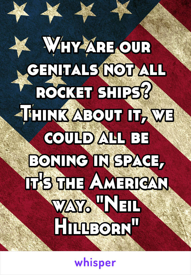 "Why are our genitals not all rocket ships?  Think about it, we could all be boning in space, it's the American way. ""Neil Hillborn"""