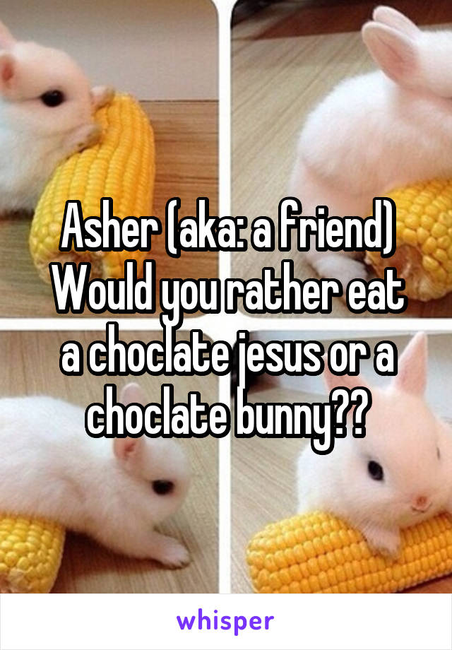 Asher (aka: a friend) Would you rather eat a choclate jesus or a choclate bunny??
