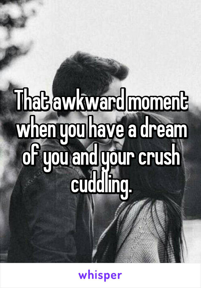 That awkward moment when you have a dream of you and your crush cuddling.