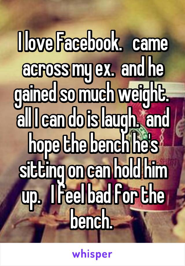 I love Facebook.   came across my ex.  and he gained so much weight.  all I can do is laugh.  and hope the bench he's sitting on can hold him up.   I feel bad for the bench.