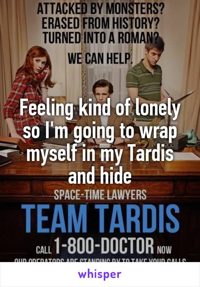 Feeling kind of lonely so I'm going to wrap myself in my Tardis and hide