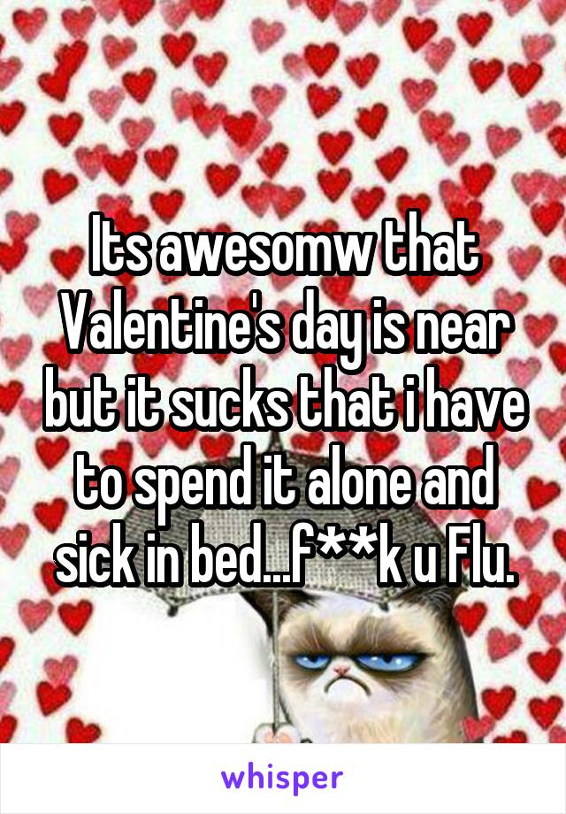 Its awesomw that Valentine's day is near but it sucks that i have to spend it alone and sick in bed...f**k u Flu.