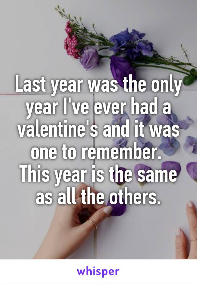 Last year was the only year I've ever had a valentine's and it was one to remember.  This year is the same as all the others.