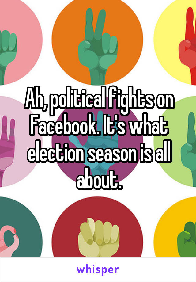 Ah, political fights on Facebook. It's what election season is all about.