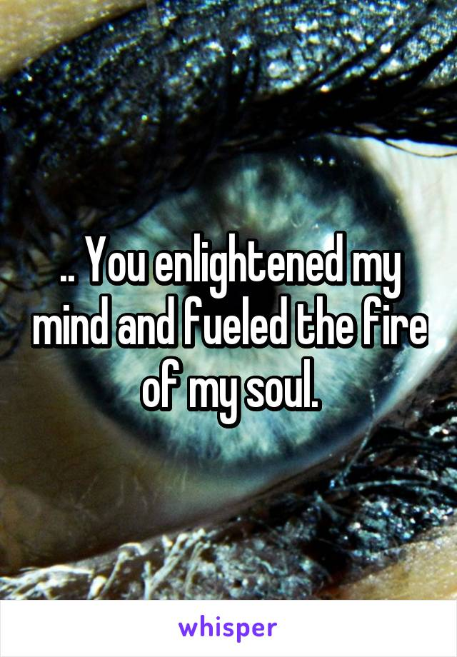 .. You enlightened my mind and fueled the fire of my soul.