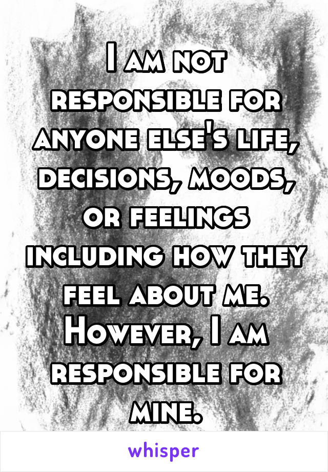 I am not responsible for anyone else's life, decisions, moods, or feelings including how they feel about me. However, I am responsible for mine.