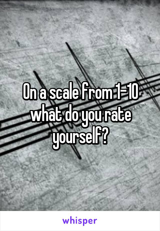 On a scale from 1-10 what do you rate yourself?