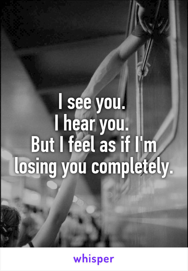 I see you.  I hear you.  But I feel as if I'm losing you completely.