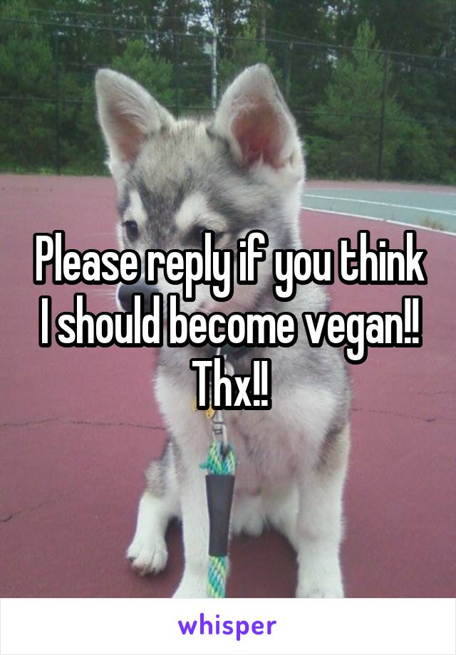 Please reply if you think I should become vegan!! Thx!!