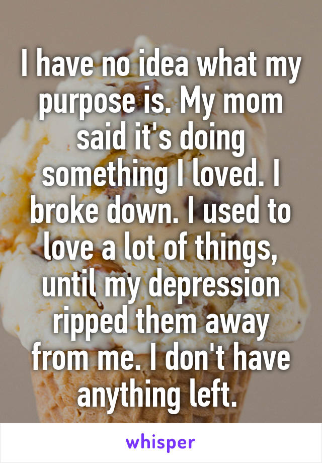 I have no idea what my purpose is. My mom said it's doing something I loved. I broke down. I used to love a lot of things, until my depression ripped them away from me. I don't have anything left.