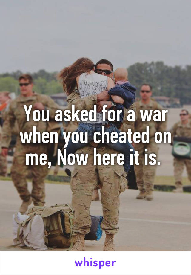You asked for a war when you cheated on me, Now here it is.