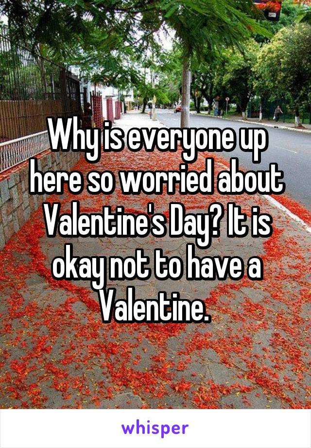 Why is everyone up here so worried about Valentine's Day? It is okay not to have a Valentine.