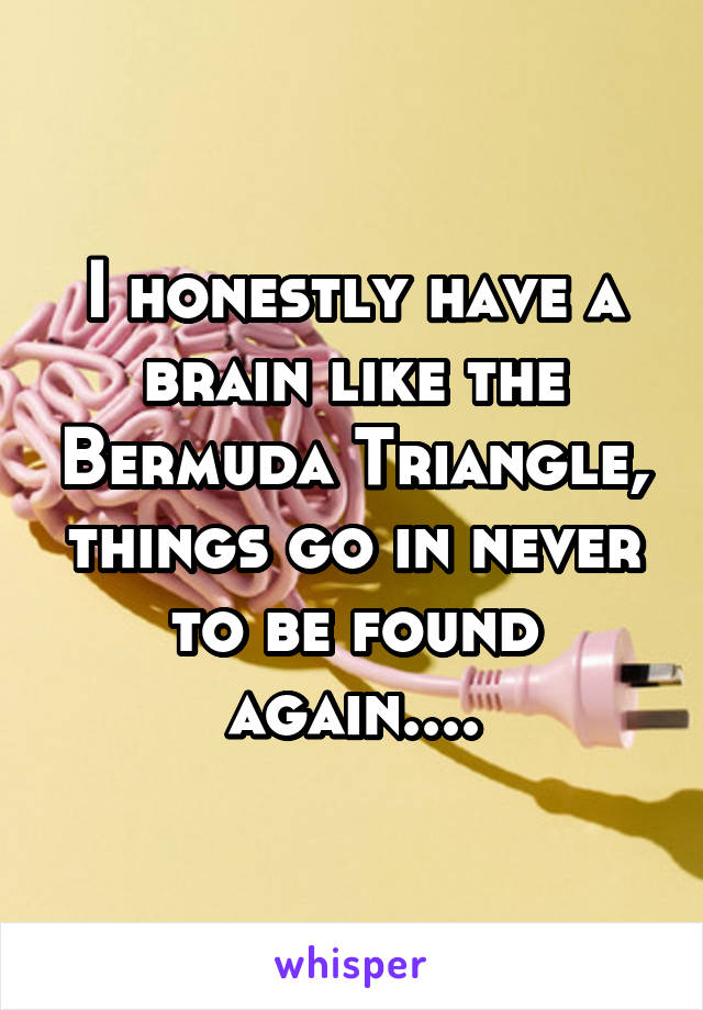 I honestly have a brain like the Bermuda Triangle, things go in never to be found again....