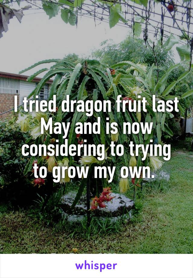 I tried dragon fruit last May and is now considering to trying to grow my own.