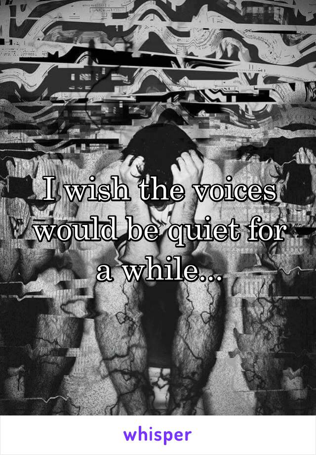 I wish the voices would be quiet for a while...