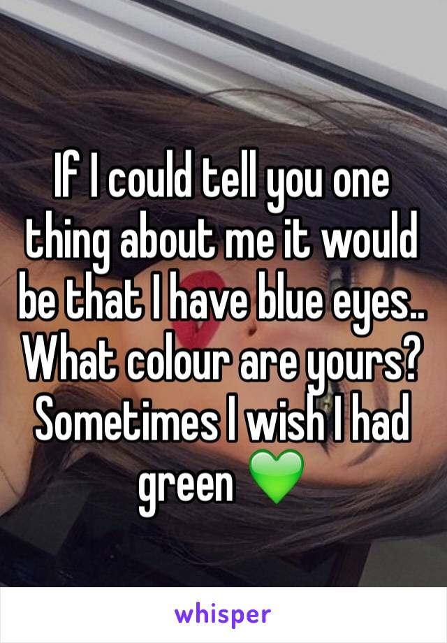 If I could tell you one thing about me it would be that I have blue eyes.. What colour are yours? Sometimes I wish I had green 💚