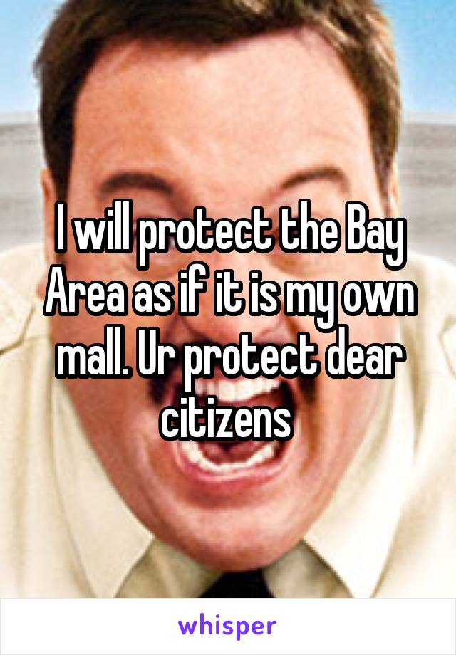 I will protect the Bay Area as if it is my own mall. Ur protect dear citizens